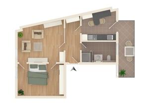 Grundriss-Visualisierung Wohnug Nr.5